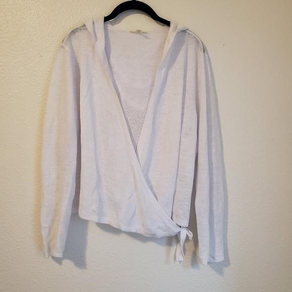 1eadbfaba9 Eileen Fisher Sweaters | Hooded Linen Wrap Cardigan | Poshmark